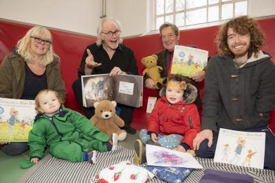 Councillor Dr Michael Hardacre, the City of Wolverhampton Council's Cabinet Member for Education and Skills, joins Story Teller Grandpa Sticks - aka Steve Stickley, children Ezra and Buddy Draisey, dad Sam Draisey and grandmother Jayne Draisey at the event