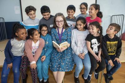 Wolverhampton's first Young Poet Laureate, Lizzie Stuart, lends her support to pupils from Merridale Primary School who have been taking part in a Key Stage 2 poetry challenge