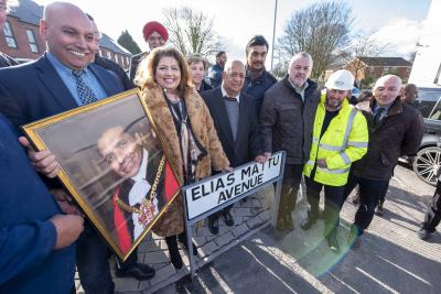 Councillor Asha Mattu, widow of the late Elias Mattu, Mayor of Wolverhampton Councillor Claire Darke and council leader Councillor Ian Brookfield with guests at the opening of Elias Mattu Avenue, Graiseley
