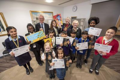 Winners of the Fairtrade competition with Mayor of Wolverhampton Councillor Claire Darke, Ann Bickley from Wolverhampton City Fairtrade Partnership and Wolverhampton South East MP Pat McFadden