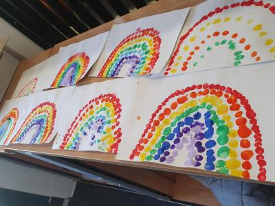 Rainbows of hope designed by children at Bantock Primary School
