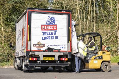 A Marstons' lorry dropping off supplies at City of Wolverhampton Council's emergency food hub