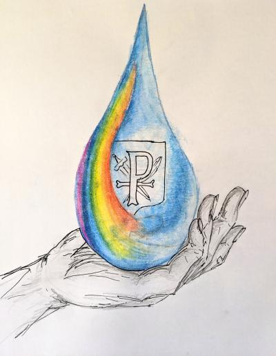 This is the inspirational raindrop image for St Paul's' Rainbows in the Rain club, which was designed by one of the school's teaching assistants