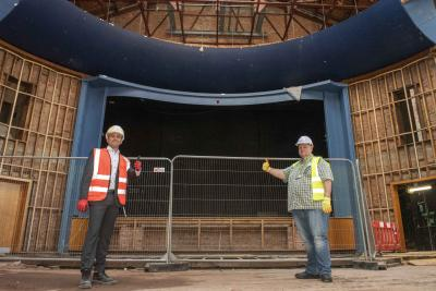 (l-r): Phil Crowther, Willmott Dixon Interiors Director, and Councillor Stephen Simkins, Cabinet Member for City Economy inside the Civic Halls as work restarts