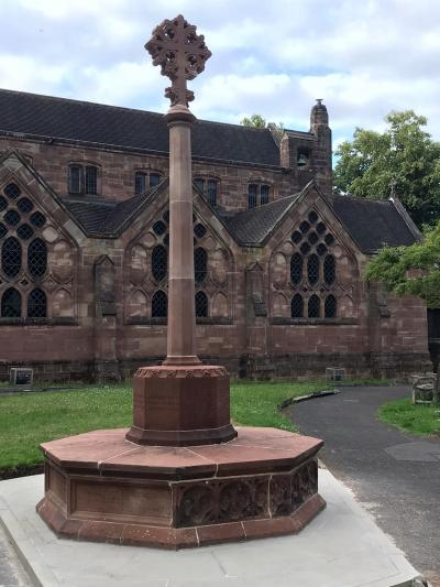 The repaired Tettenhall war memorial at St Michael and All Angels Church