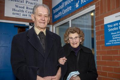 John and Joan Dudley, who were the first patients in Wolverhampton to receive the Covid-19 vaccine