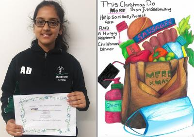 Young artist Aaratreeka Das from Smestow School with her winning entry