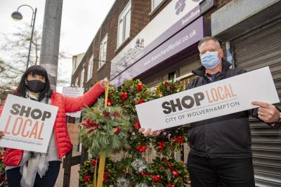 Wendy Durber, owner of Orchard Florists in Church Street, Bilston, with Simon Archer, Bilston BID Manager