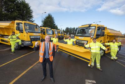 Councillor Steve Evans, cabinet member for city environment, with the new fleet of gritting lorries and members of the winter service team (l-r) Vijay Kumar, David Onions, Kevin Tinsley, Martin Harper and David Hodson