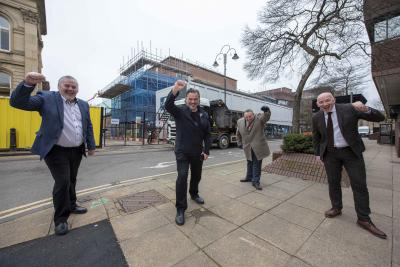 (l-r): Council Leader, Councillor Ian Brookfield, AEG Presents CEO, Steve Homer, Cabinet Member for City Economy, Cllr Stephen Simkins, and Council Chief Executive, Tim Johnson, outside Wolverhampton Civic Halls