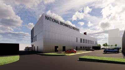 Computer generated image of the National Brownfield Institute at University of Wolverhampton's Springfield Campus