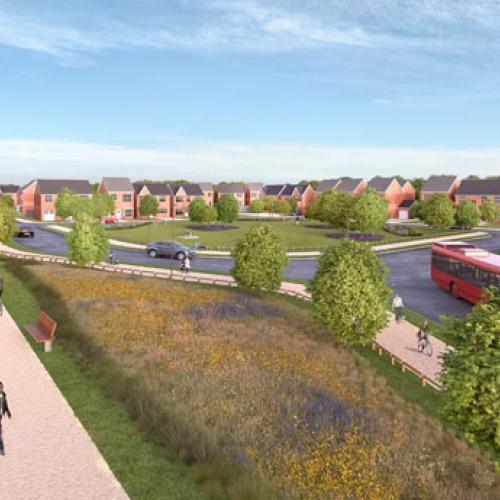 Artist's impression of finished housing at Bilston Urban Village