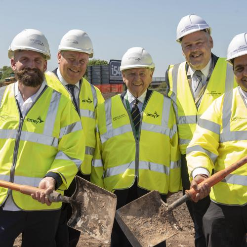 (l-r): Stoke-on-Trent and Staffordshire Local Enterprise Partnership Deputy Chairman, Alun Rogers, Staffordshire County Council Cabinet Member for Economic Growth, Mark Winnington, South Staffordshire Council Leader, Cllr Brian Edwards MBE, City of Wolverhampton Council Leader, Cllr Ian Brookfield, and City of Wolverhampton Council Cabinet Member for City Economy, Cllr Harman Banger