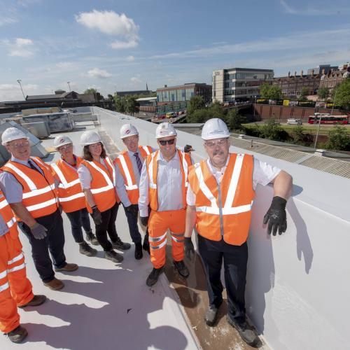 On top of the new Wolverhampton Railway Station after work is completed on the roof for phase one